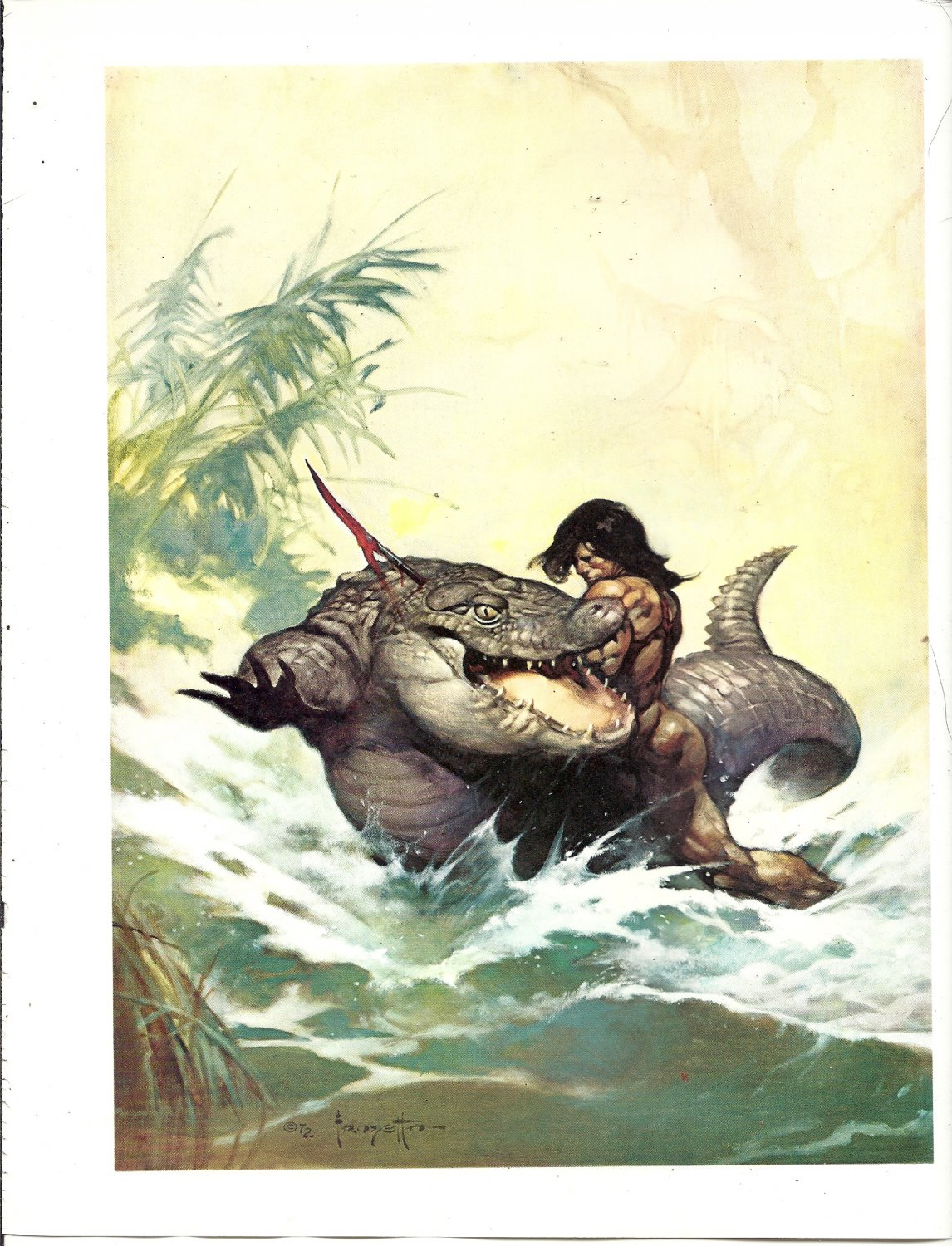 """vintage Frank Frazetta 11"""" x 9"""" Book Plate Print - Monster out of Time"""