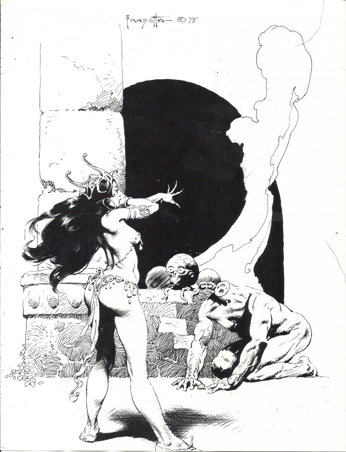 "vintage Frank Frazetta 11"" x 9"" Book Plate Print - Tara's Horror - Chessmen of Mars"