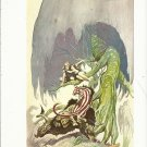 "vintage Frank Frazetta 11"" x 9"" Book Plate Print -Beasts of Venus"
