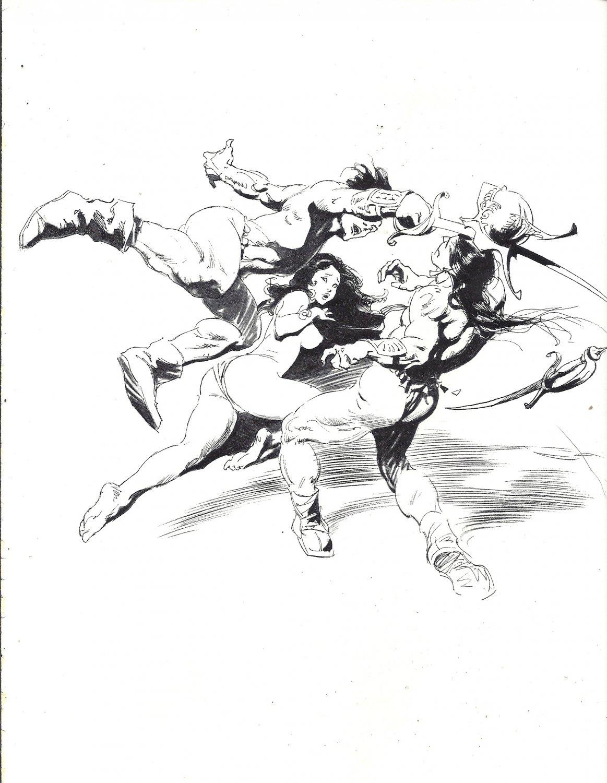 "vintage Frank Frazetta 11"" x 9"" Book Plate Print -Duel"
