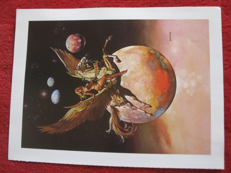 "vintage Boris Vallejo: Golden Wings - 11.5"" x 8.5"" Book Plate Print"
