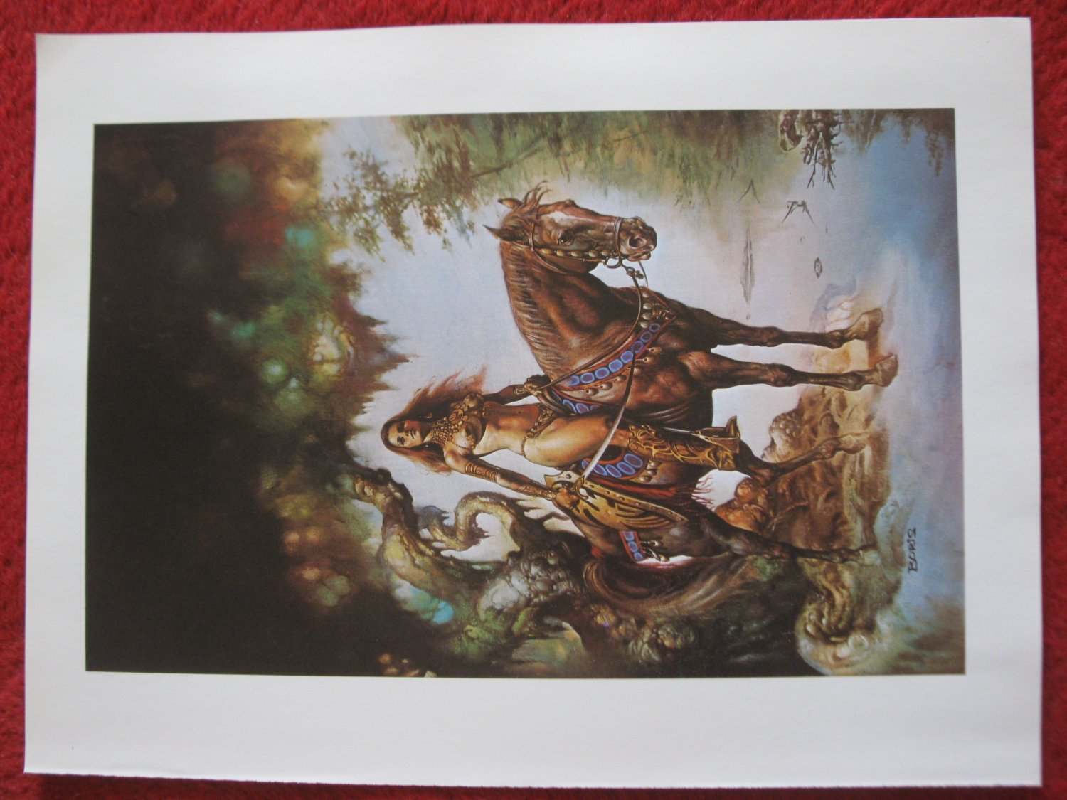 "vintage Boris Vallejo: Demon in the Mirror- 11.5"" x 8.5"" Book Plate Print"
