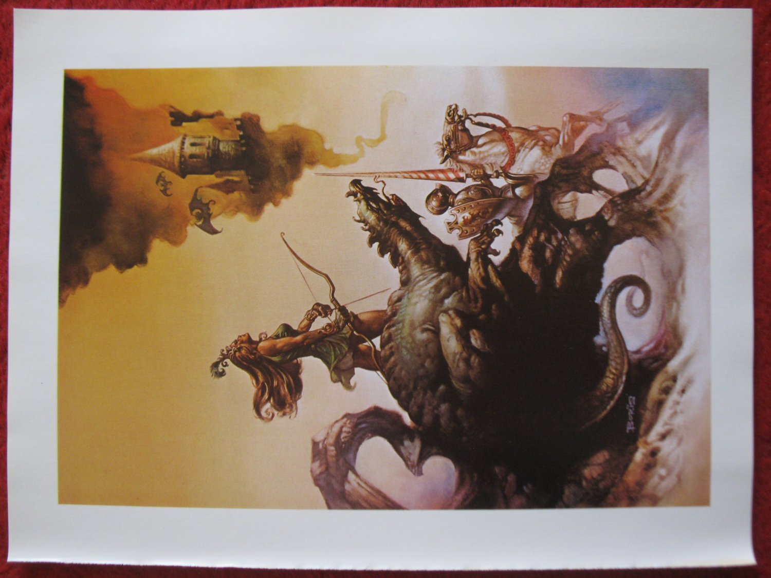 """vintage Boris Vallejo: The Dragon and The George (skycastle) - 11.5"""" x 8.5"""" Book Plate Print"""