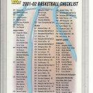 (b-32) 2001-02 Topps Basketball Checkilist #2 of 2