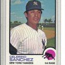 (b-31) 1973 Topps #103: Celerino Sanchez - Rookie - Factory Error - Off-Set Cut