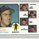 (b-31) 1973 Topps #49: Frank Quilici (Solid B/ground) Factory Error- off-set cut