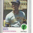 (b-31) 1973 Topps #152: Dave May - Factory Error off-set cut