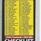 (b-30) 1985 Topps Football #396: Checklist / 265-396 - clean / umarked