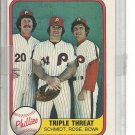(b-30) 1981 Fleer #645b: Schmidt, Rose, Bowa ( #'d 645 on back )
