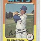 (b-30) 1975 Topps #324: Ed Kranepool - Factory Error Off-Set Angled Cut