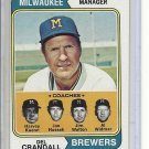 (b-30) 1974 Topps #99: Del Crandell - Manager - Factory Error Off-Set Cut