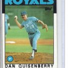 (B-1) 1986 Topps #50: Dan Quisenberry- Factory Error- splotchy black ink