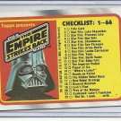(B-1) 1980 Star Wars- The Empire Strikes Back #131: Checklist 1-66 - no markngs