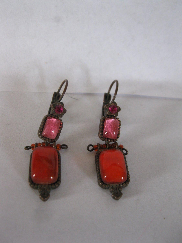 vintage pair of Satellite Earrings - Red & Pink rectangle stones, nice set