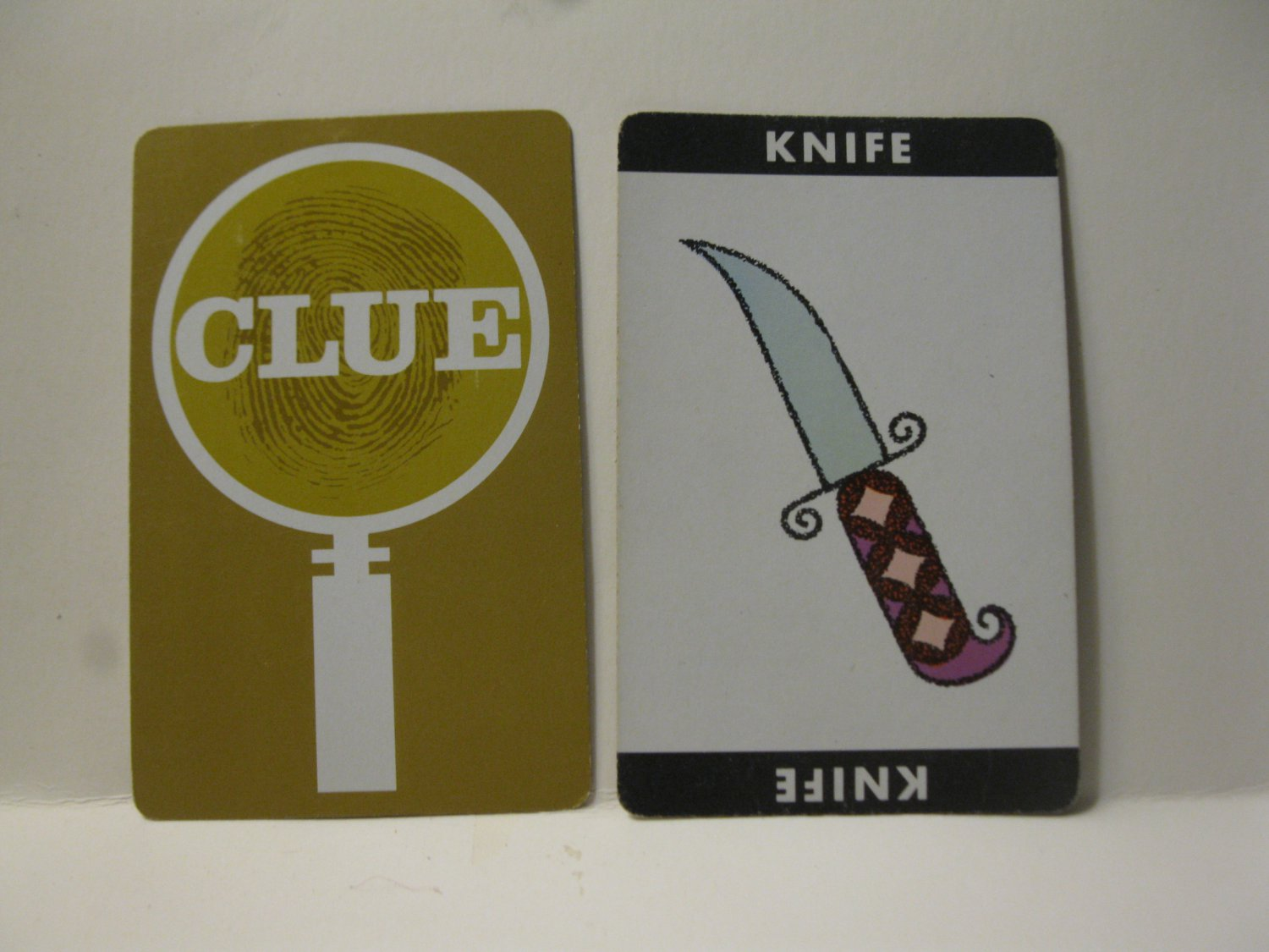 1950 Clue Board Game Piece: Knife Weapon Card