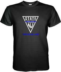 NEW JERSEY STATE POLICE T-SHIRT THIN BLUE LINE Size S, M, L, XL, 2XL, 3XL