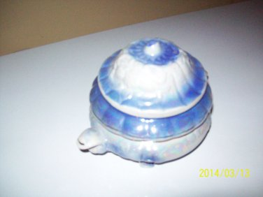 Blue Floral DIsh with Lid and floral design Unknown Maker