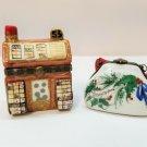 2 Vintage Limoges France Peint Main Hinged Trinket Boxes
