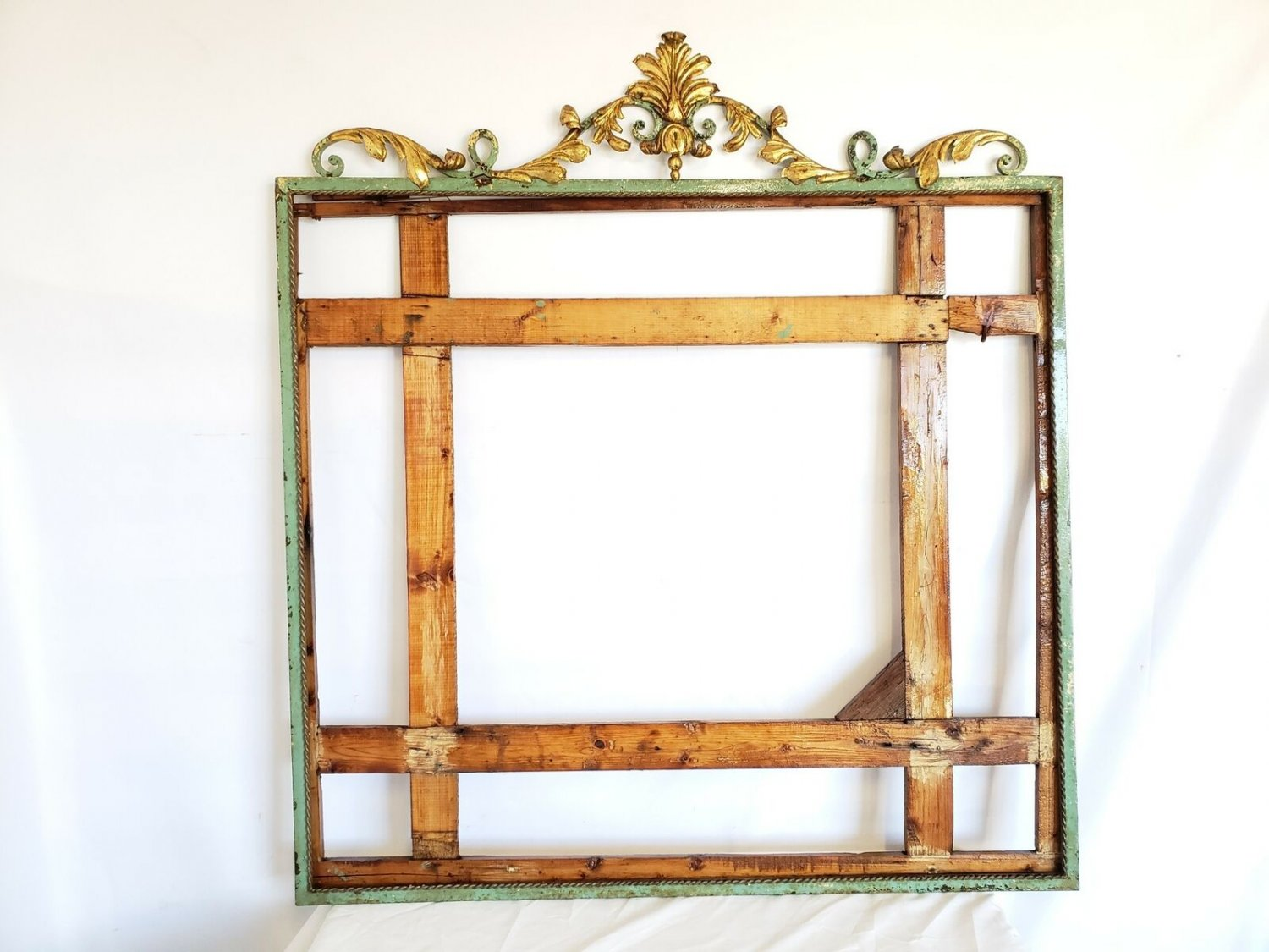 Impressive Large French Antique Wrought Iron Mirror Frame - Gold Gilt Acanthus L