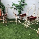 Regal Antique Set Of Four French Scrolled Wrought Iron Upholstered Chairs