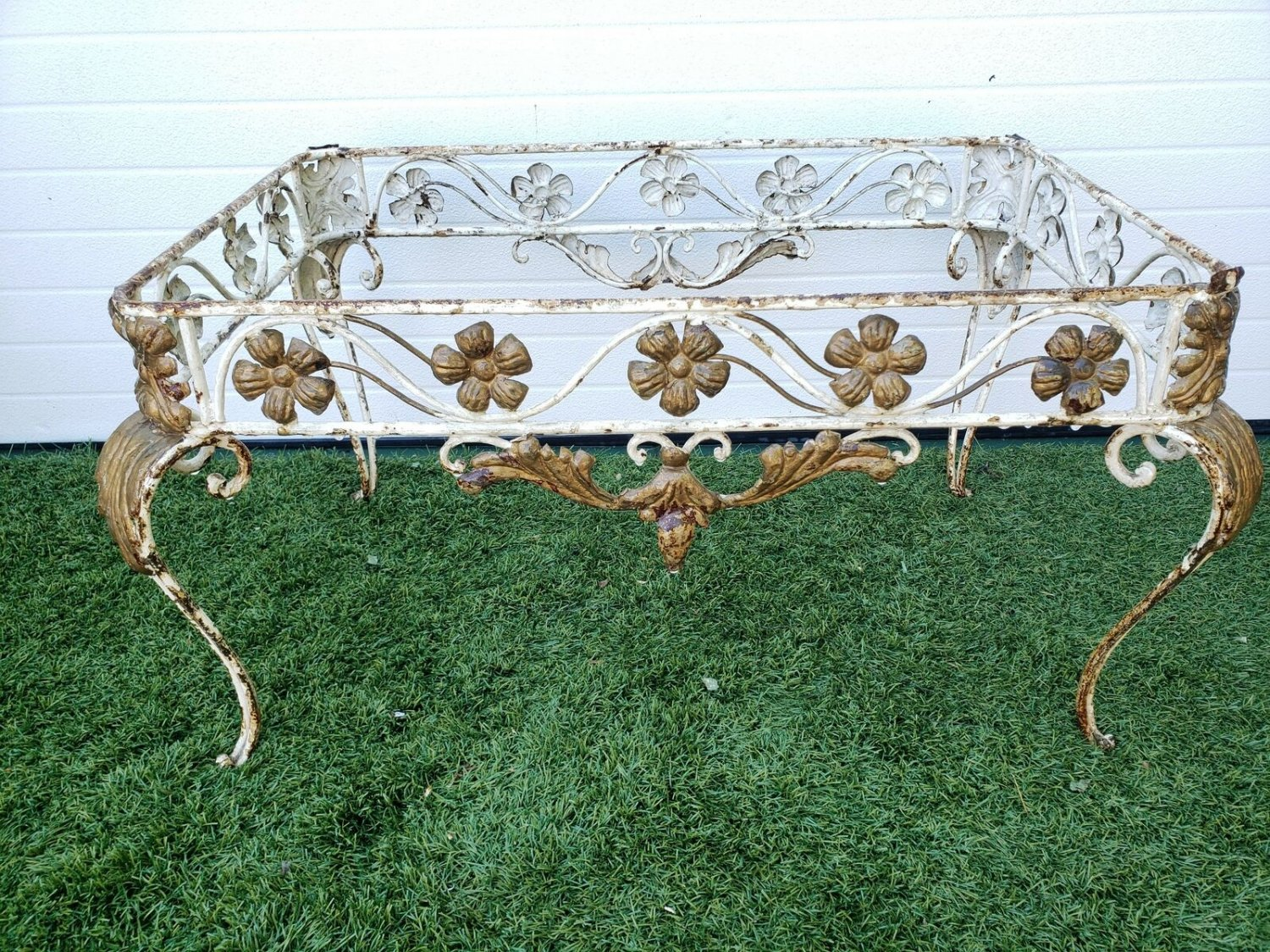 French Antique White & Gold Wrought Iron Coffee Table