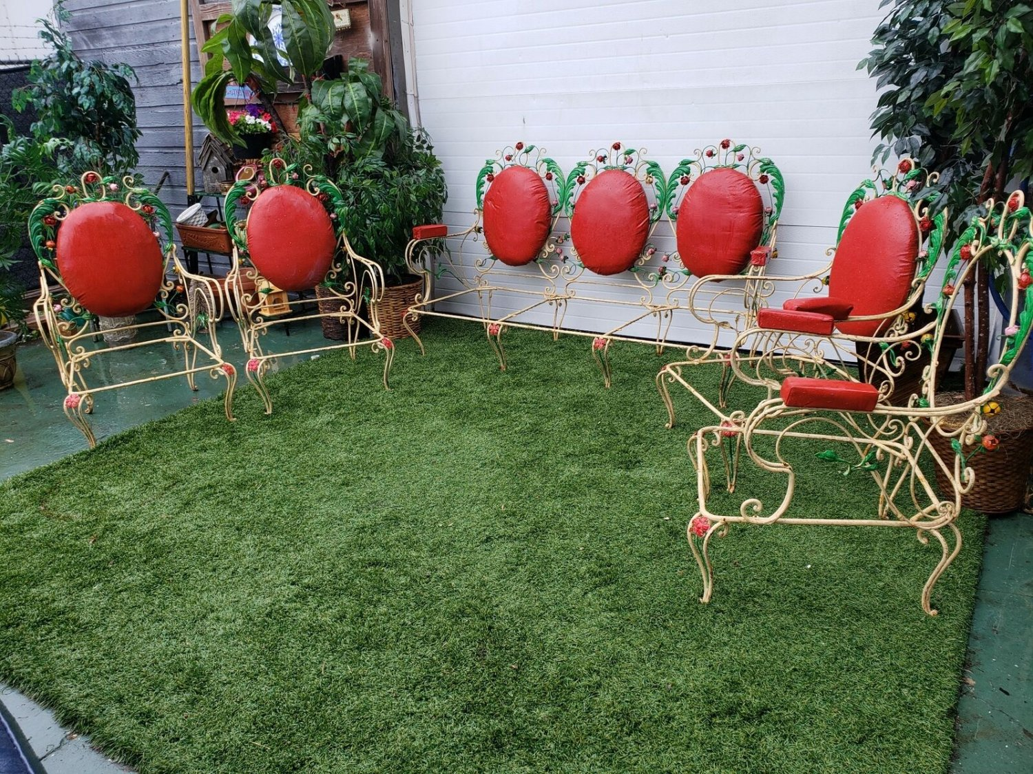 French Antique Scrolled Wrought Iron Sofa & Chairs