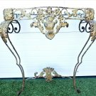 Richly Ornate French Antique Late 1800s Wrought Iron Wall Mount Console Table