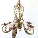 French Antique Candelabra Chandelier Wrought Iron Twisted Scroll Work