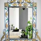 Antique Wall Mirror Ornate French Wrought Iron  Black & Gold