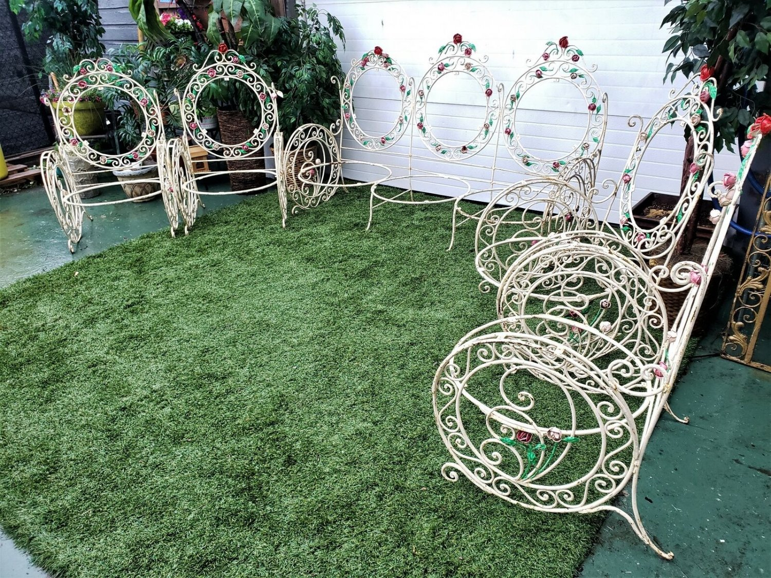 Antique French Scrolled Wrought Iron Garden Sofa & Four Chair Set
