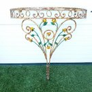 Antique French Wrought Iron Wall Mounted Console Table w/ Leaves & Roses