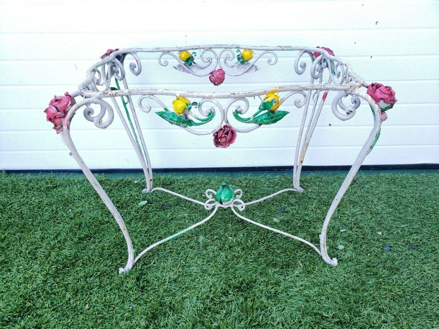 French Antique Grey Painted Hand Forged Scrolled Wrought Iron Petite Table