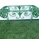 Antique French Scrolled Wrought Iron Green Painted Oblong Small Table