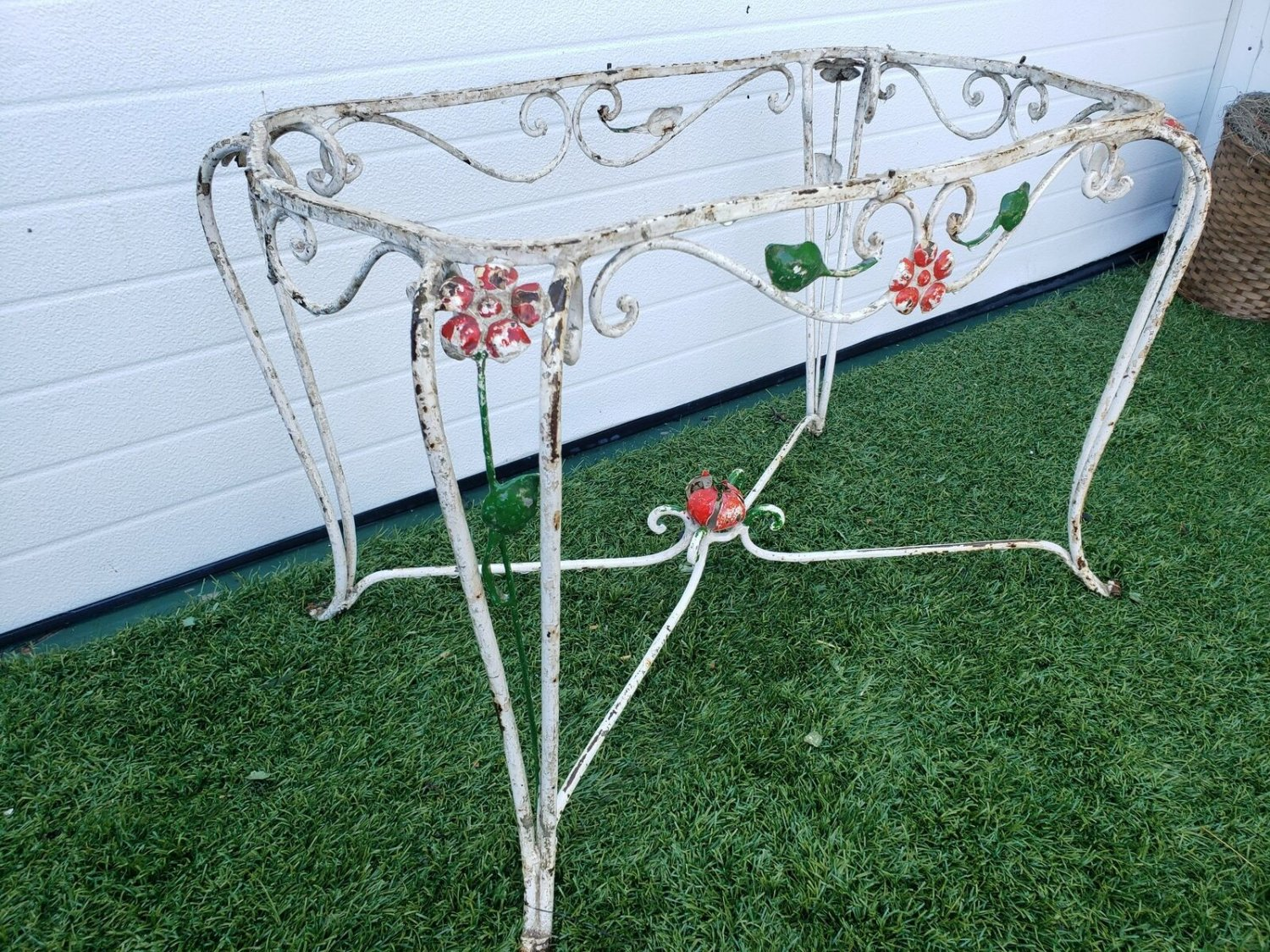 French Antique Turn Of The Century Petite Scrolled Wrought Iron Table