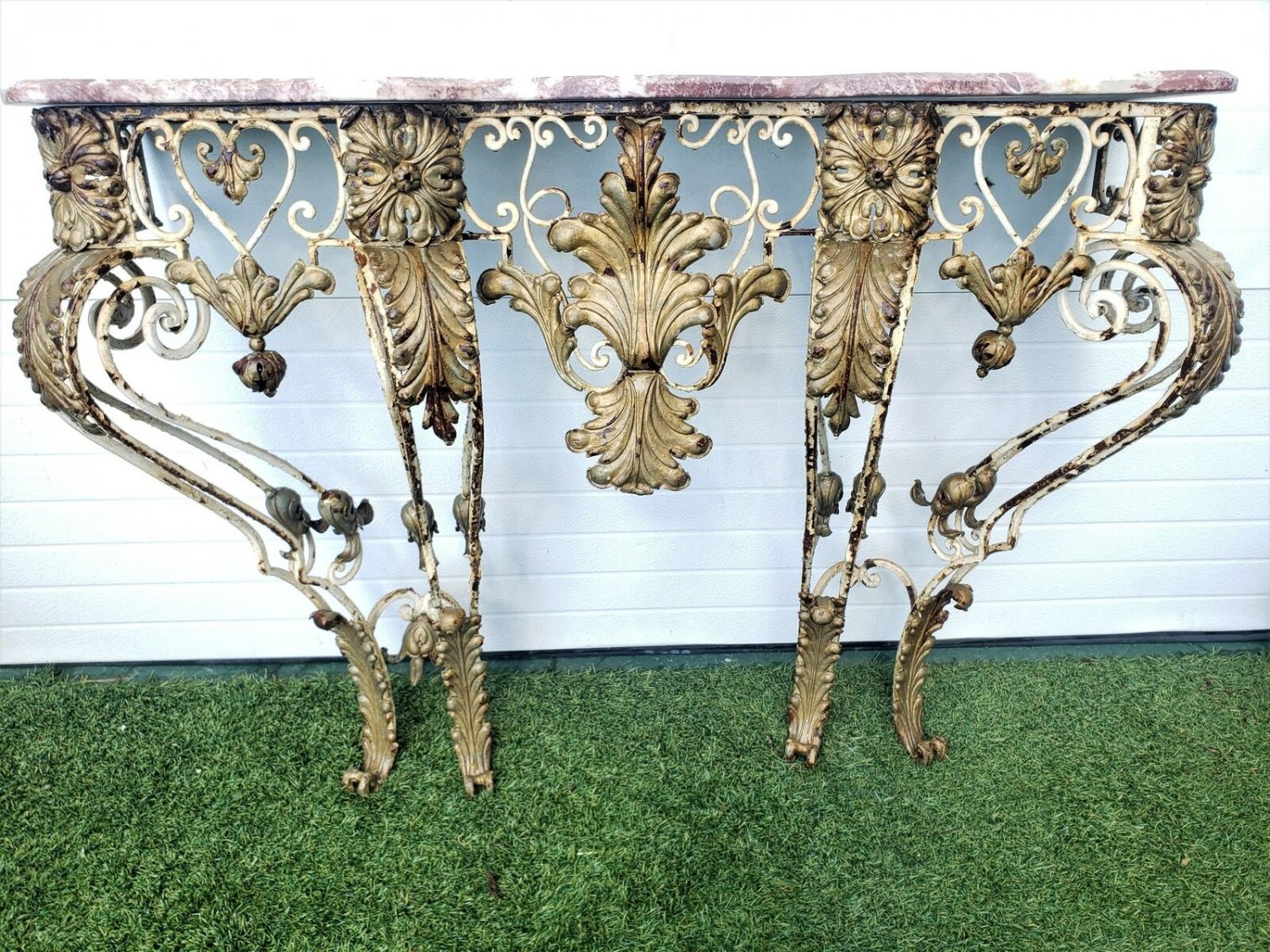 French Antique Wrought Iron Gold Gilt Acanthus Leaf Wall Mount Console Table