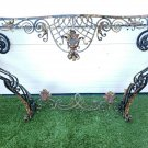 French Antique Scrolled Wrought Iron Wall Mount Console Table