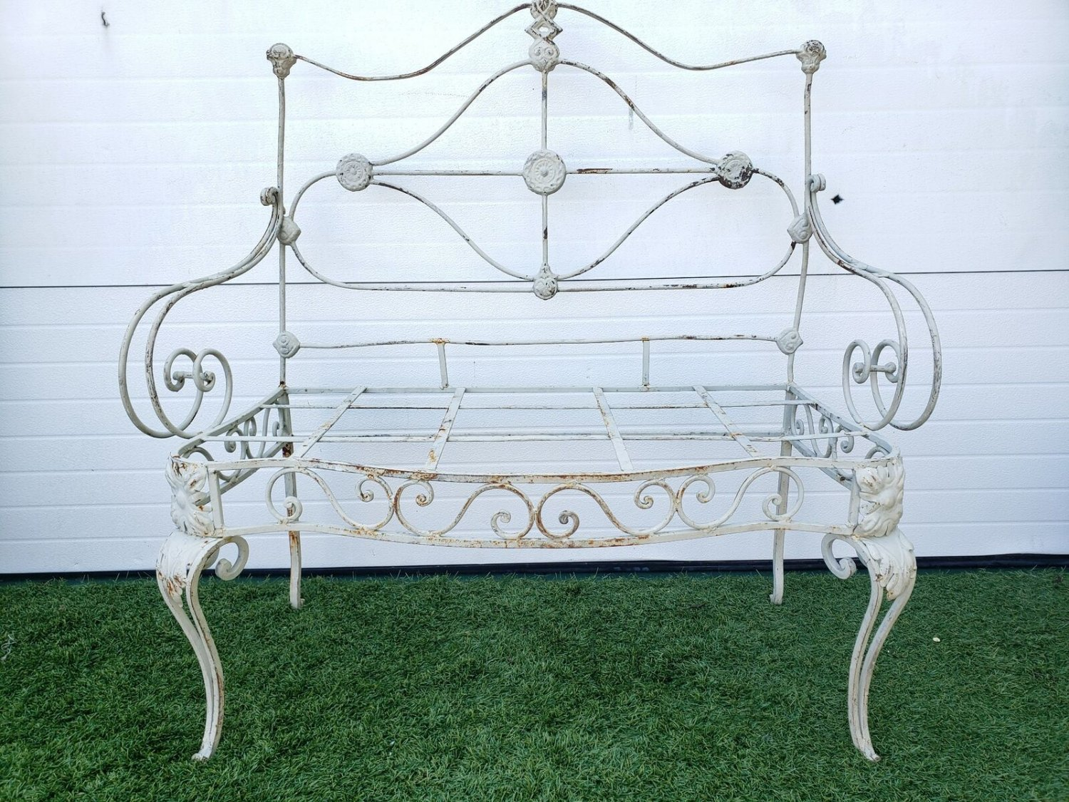 Antique Turn Of The Century Beige Painted Scrolled Wrought Iron Garden Bench