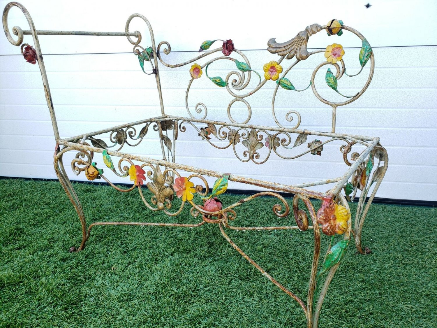 Whimsical French Antique Turn Of The Century Wrought Iron Petite Bench, Small Ch