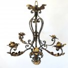 Simply Elegant French Antique Turn Of The Century Scrolled Wrought Iron Candelab