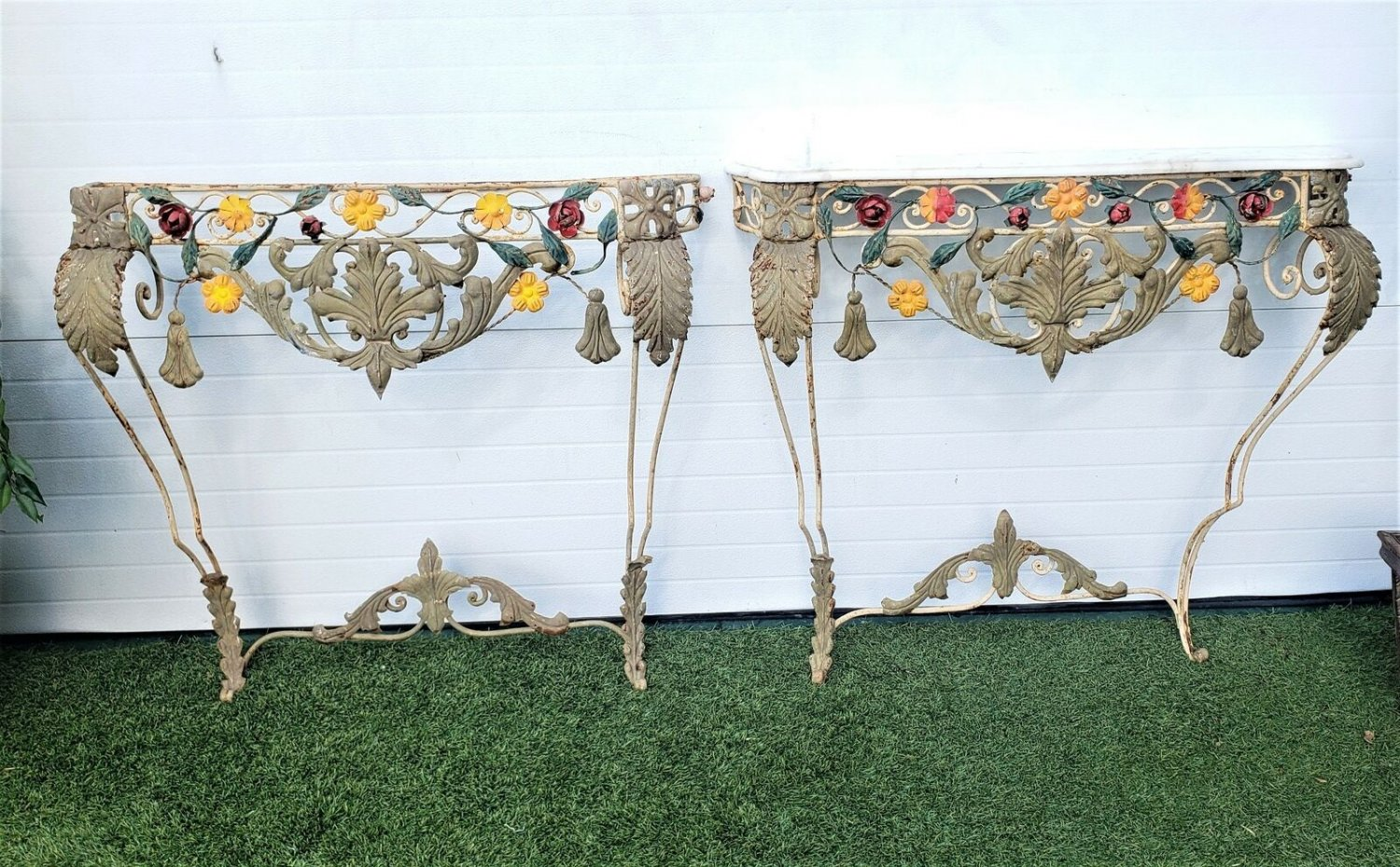 Pair Of French Antique Wall Mount Console Tables Wrought Iron
