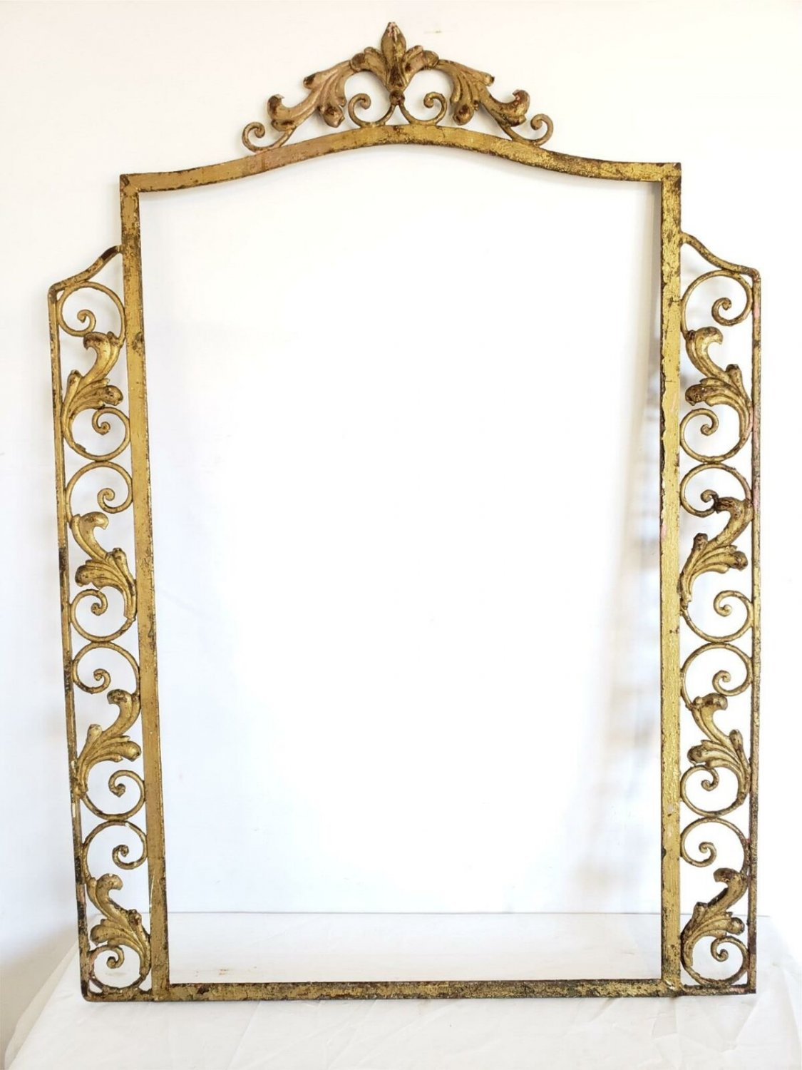 Beautiful Turn Of The Century Antique Scrolled Wrought Iron Large Mirror Frame
