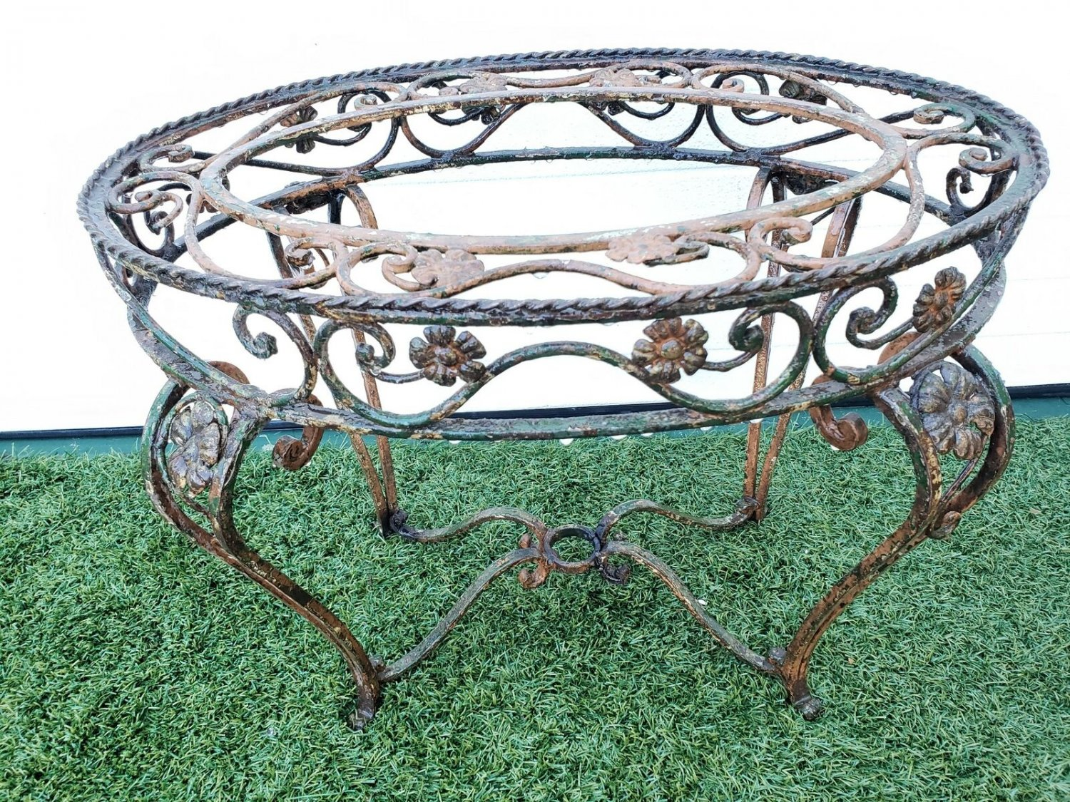 Lovely Oval Antique French Hand Forged Wrought Iron Small Oval Table