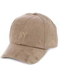 TAN FAUX SUEDE EMBROIDERED BASEBALL