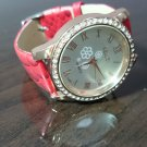 Bling Diamond Vintage Leather Strap Quartz Wrist Women Chic Fashion Analog Watch