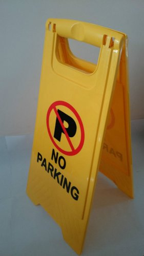 """Caution No Parking Double Side Sign Warning Board Bright Yellow Plastic 24"""""""