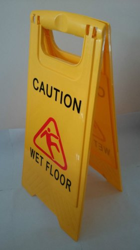 Caution Wet Floor Double Side Sign Warning Board Bright Yellow Plastic 24""