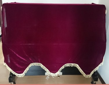 Standard Velvet Size Adjustable Downdrop Piano Dust Cover W Easy-pull Zippers