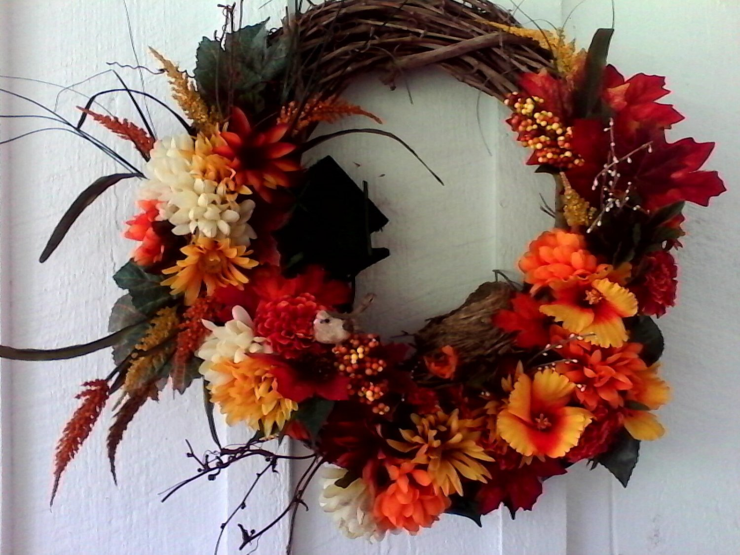 Autumn Wreath with Birdhouse and Nest *PRICE REDUCED*