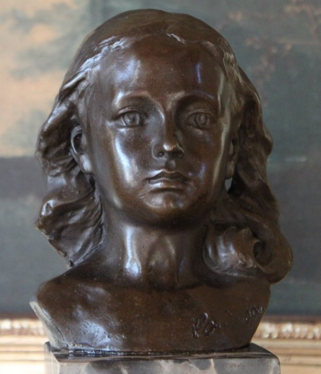 Lovely Female Child Portrait Bust Bronze Sculpture