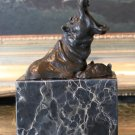 Wildlife Pair of Hippos Bronze Sculpture